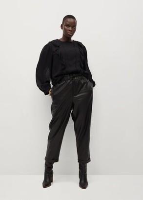 MANGO Ruffled Plumeti blouse