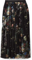 ADAM by Adam Lippes Pleated Printed Chiffon Midi Skirt - Black