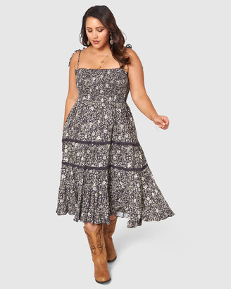 The Poetic Gypsy - Women's Grey Midi Dresses - Gypsy Floral Print Dress - Size One Size, 12 at The Iconic