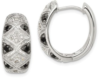 Curata 925 Sterling Silver Pave Polished Open back Black and Clear CZ Cubic Zirconia Simulated Diamond Hinged Hoop Earrings Jewe