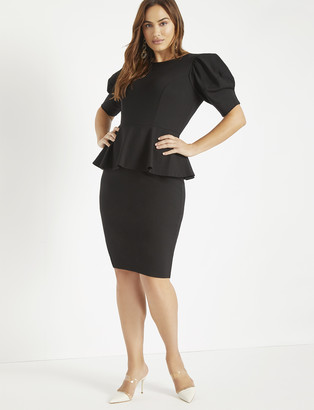 ELOQUII Puff Sleeve Peplum Dress
