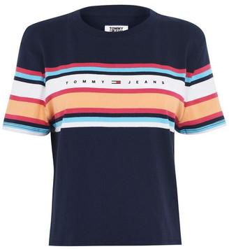 Tommy Jeans Stripe Logo Cropped T-Shirt