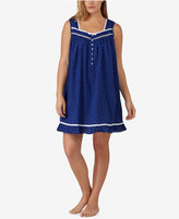 Eileen West Plus Size Ribbon-Trimmed Printed Cotton Nightgown