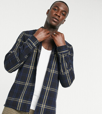 ASOS DESIGN Tall smart overshirt in navy and black check with straight hem