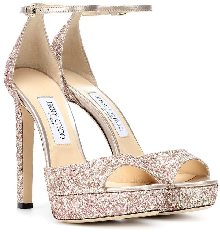 Jimmy Choo Pattie 130 glitter plateau sandals