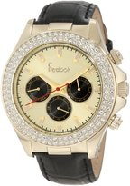 Freelook Women's HA6306G-3 Black Leather Band Matt Gold Chronograph Dial Swarovski Bezel Watch