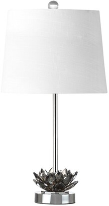 Jonathan Y Designs Amelia Lotus 25In Crystal Led Table Lamp Smoke