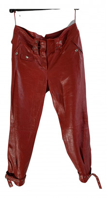 Christian Dior Red Leather Trousers
