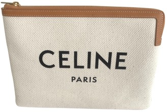 Celine White Polyester Clutch bags