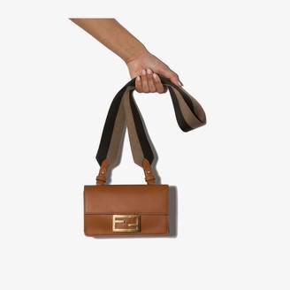 Fendi brown Flat Baguette mini leather bag