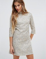 Fashion Union High Neck Skater Dress In Metallic Lace