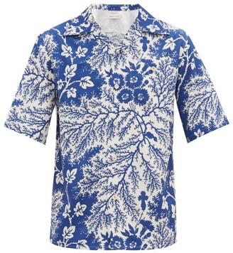 Alexander McQueen Hawaiian Floral-print Crepe Shirt - Blue White