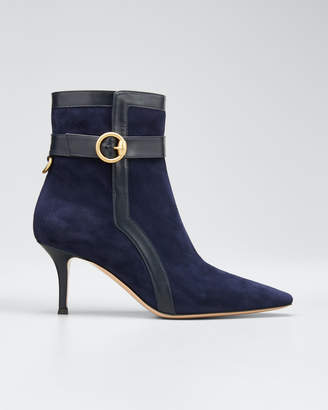 Gianvito Rossi Suede and Leather Buckle Booties
