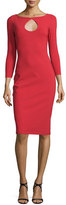 La Petite Robe di Chiara Boni Biba 3/4-Sleeve Stretch Jersey Sheath Dress, Melograno