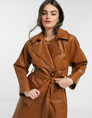 Weekday Elli faux leather trench in toffee