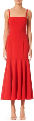 Carolina Herrera Ruffle Hem Midi Dress