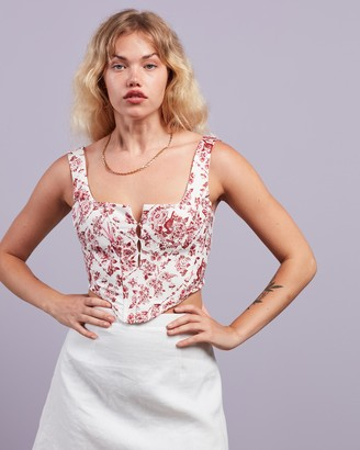 Missguided Women's White Cropped tops - Crepe Chinoiserie Print Corset Top - Size 6 at The Iconic