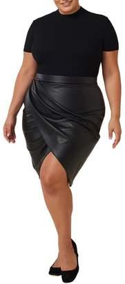 Maree Pour Toi Pleather Tulip Wrap Skirt (Plus Size)