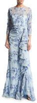 Badgley Mischka 3/4-Sleeve Embroidered Floral Lace Gown, Light Blue