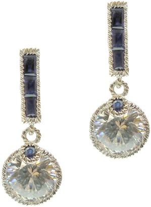 Judith Ripka Sterling Diamonique & Blue Sapphire Earrings