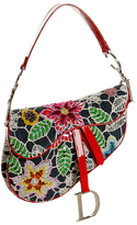 denim floral embroidered saddle bag