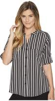 Calvin Klein Printed Roll Sleeve Blouse Women's Clothing