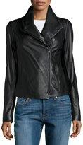 Vince Leather-and-Knit Scuba Jacket, Black