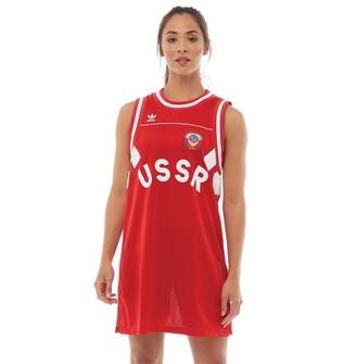 adidas Womens USSR Tank Dress Scarlet