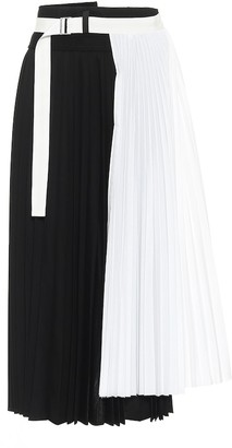 Sacai Pleated wool midi skirt