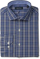Nautica Men's Plaid Cutaway Collar Dress Shirt