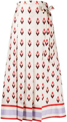 Valentino Geometric-Print Pleated Skirt