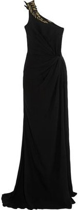 Roberto Cavalli Appliqued Embellished Gathered Silk-crepe Gown