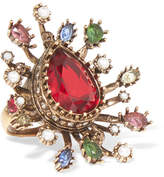 Alexander McQueen Gold-plated, Crystal And Faux Pearl Ring