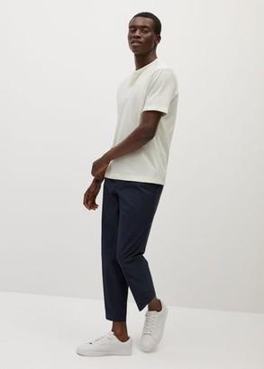 MANGO MAN - Henley cotton T-shirt off white - S - Men