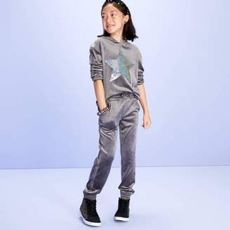 More than Magic Girls' Velour Hoodie Sweatshirt With Sequin - More Than MagicTM Gray