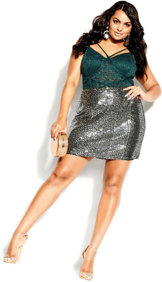 City Chic Sassy Lace Bodysuit - emerald