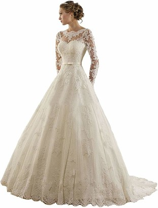 Dreammaking Plus Size A Line Long Sleeve Lace & Tulle Wedding Dress with Train Bridal Ball Gowns Long Ivory