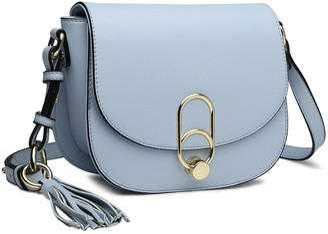 Miss Lulu Women Cross body Bag Fashion Tassel Decoration Zipper Handbags Flap with Lock Closure Shoulder Bag (Blue)