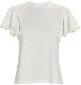 ADEAM Ruffled Cotton T-Shirt