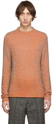 Acne Studios Brown and Orange Striped High Neck Sweater