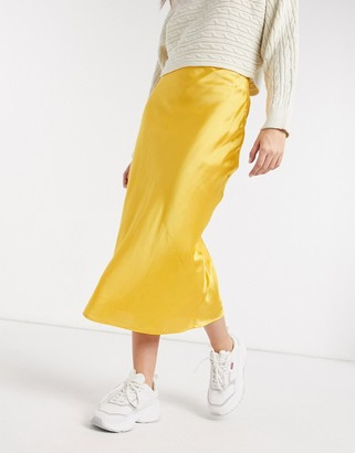 ELVI bias cut skirt in yellow