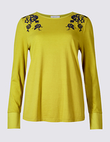 Per Una Pure Cotton Embroidered Long Sleeve T-Shirt