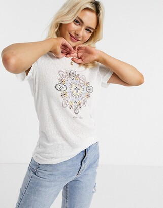 Only dream catcher printed t-shirt in textured white