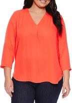 A.N.A a.n.a 3/4-Sleeve Shirred V-Neck Blouse - Plus