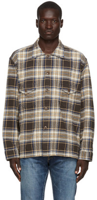 South2 West8 Brown Twill Plaid Smokey Shirt