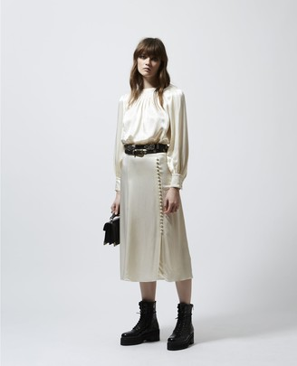 The Kooples Long pleated beige skirt with slit in satin