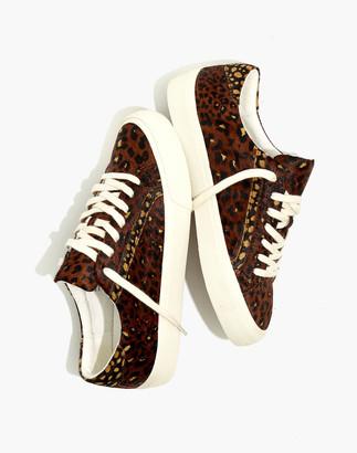 Madewell Sidewalk Low-Top Sneakers in Painted Leopard Colorblock Calf Hair