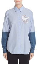 N°21 N.21 Denim Sleeve Stripe Shirt