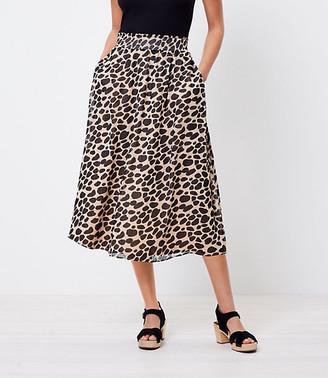 LOFT Petite Cheetah Print Pocket Midi Skirt