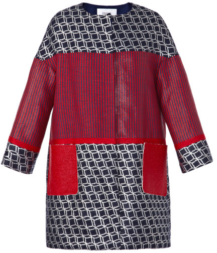 Prabal Gurung Preorder Geometric And Striped Collarless Coat With Laminated Tweed Pockets